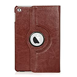 ARMOR iPad Mini 4 Case, Flip Cover 360 Degree Series PU Leather 360 Degree Rotating Flip cover With auto wake sleep (Brown)