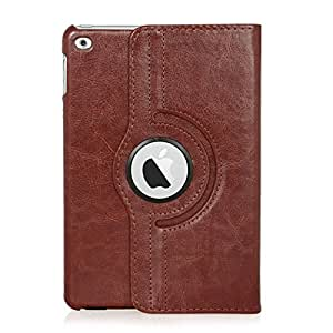 iPad Mini 4 Case, Stand Flip Cover 360 Degree Series Leather Premium 360 Degree Rotating Cover With Wake Sleep For Apple iPad Mini 4 - Brown
