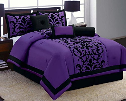 Fancy Collection 8 Piece Luxury Black And Purple Comforter Set Bed In A Bag New (King) front-971598