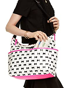 Kate Spade Daycation Serena Baby Diaper Bow Bag in Cream / Black / Pink from Kate Spade New York