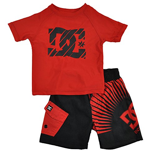 DC Shoes Co Baby Boys' Red Rashguard Wieh Microfiber Shorts