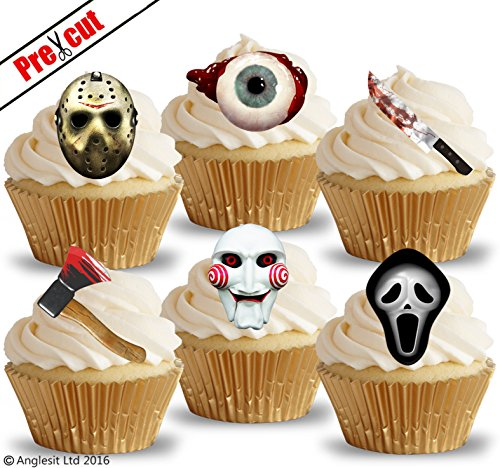 PRE-CUT SCARY HORROR MASKS & OBJECTS EDIBLE RICE / WAFER PAPER IMAGE CUPCAKE CAKE TOPPERS HALLOWEEN GOTHIC BIRTHDAY PARTY (Halloween Cupcakes Decorations Uk)