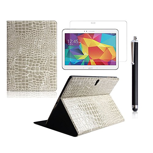 Boriyuan Stylish Tab S 10.5 Leather Case, Ultra Slim Lightweight Portable Protective Flip Folio Pu Leather Carrying Cover With Viewing Stand Holder Feature For New 2014 Samsung Galaxy Tab S 10.5 Inch T800 T805 Tablet With A Free Stylus Touch Screen Pen (C