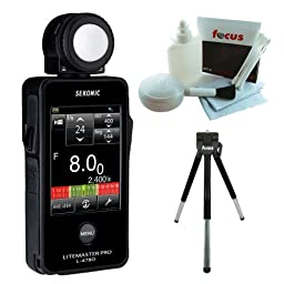 Sekonic 401-478 LITEMASTER PRO L-478D Photographic Light Meter (Black) + 5 Piece Deluxe Cleaning and Care Kit + Deluxe 8 inch table Tripod
