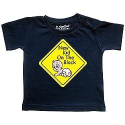 Tantra Baby Boy / Baby Girl New Kid Cotton Half Sleeve Round Neck T Shirt, Navy Blue, 0-3 Months