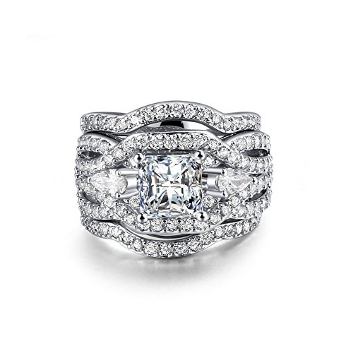Zealmer Rhodium Plated Princess Cut Diamond Halo Cubic Zirconia CZ Infinity Wedding Bridal Ring Set 8
