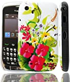 PointH Blackberry Curve 8520 IMD Hard Shell Back Protection Case Cover Stylish Glossy With 3 Flowers Floral Design