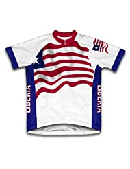 Liberia Flag Short Sleeve Cycling Jersey for Women