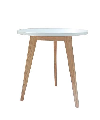 Mesa auxiliar Mesa redonda de madera maciza Simple Moderna Mesa de centro pequeña Mesa auxiliar Mesa de centro Estantería blanca