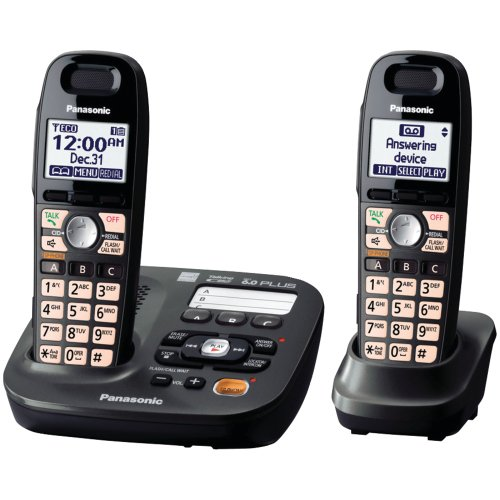 Panasonic KX-TG6592T 2-Handsets Cordless Phone,  Titanium Black (Panasonic Handset Phone compare prices)