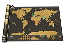 World Scratch Off Map Deluxe - Large Format Wall Map for Logging Travel (Black - 82.5 x 59.5 cm)