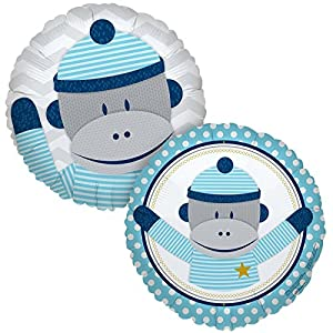 Sock Monkey Blue Foil Balloon