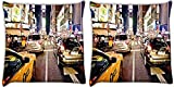 Snoogg New York Time Square At Night Pack Of 2 Digitally Printed Cushion Cover Pillows 12 X 12 Inch