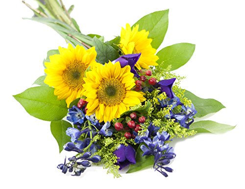 Blue Skies Sunflower and Iris Bouquet -Without Vase