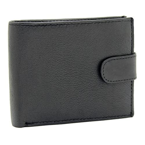 Men's Soft Real Leather Money Wallet Credit Card Holder, ID Window & Side Secure Zip Coin Pocket