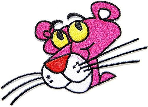 Toppa termoadesiva ricamata, motivo: Pantera Rosa, dimensioni: 5,08 x 6,35 cm