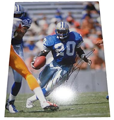 Barry Sanders Autographed Detroit Lions 11x14 Photo W/PROOF, Picture of Barry Signing For Us, Detroit Lions, Oklahoma State Cowboys, MVP, Heisman Trophy, Hall of Fame