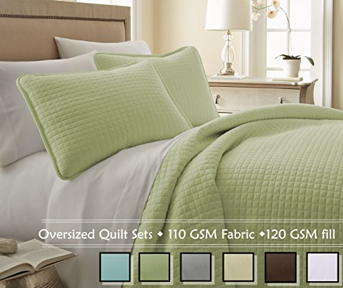 Southshore Fine Linens® 3 Piece Oversized Quilt Set - Sage Green FULL / QUEEN (Green Quilt compare prices)