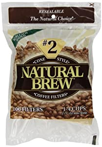 Natural Brew #2 Cone Coffee Filters, Natural Brown Paper, 100-Count Bags (Pack of 8)