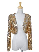 Anna-Kaci S/M Fit Gold and Silver All Over Sequin L/S Statement Cropped Jacket