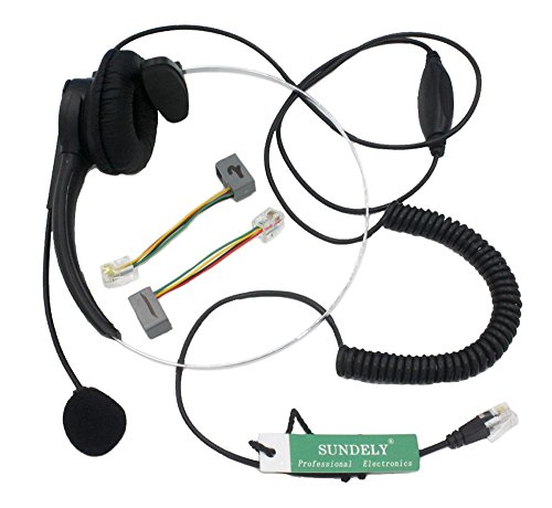 Sundely Call Center Telephone /Ip Phone Headset With Volume Control Adjustable Boom Mic 4-Pin Rj9 Modular Connector For 3Com Aastra Alcatel-Lucent Altigen Ascom Avaya Cable & Wireless Cisco (Cis) Comdial Commander Doro/Audioline Ericsson Esi