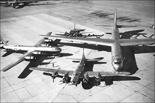 24x36 Poster; A Douglas B-18 Bolo; A Boeing B-17 Flying Fortress; A Boeing B-29 Superfortress And The B-36 Peacemaker 1948