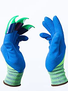 Honey badger garden gloves plastic claws on left hand for Gardening gloves amazon