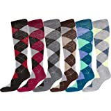 Sakkas Ladies Cute Colorful Design or Solid Poly Blend Knee High Socks Assorted 6-Pack
