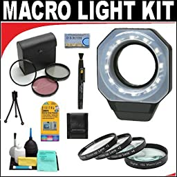 Digital Ring Light For Macro Photography + +1 +2 +4 +10 Close-Up Macro Filter Set with Pouch + High Resolution 3-piece Filter Set (UV, Fluorescent, Polarizer) + 6-Piece Deluxe Cleaning Kit + Lenspen Cleaning Tool + Deluxe DB ROTH Accessory Kit For The Can