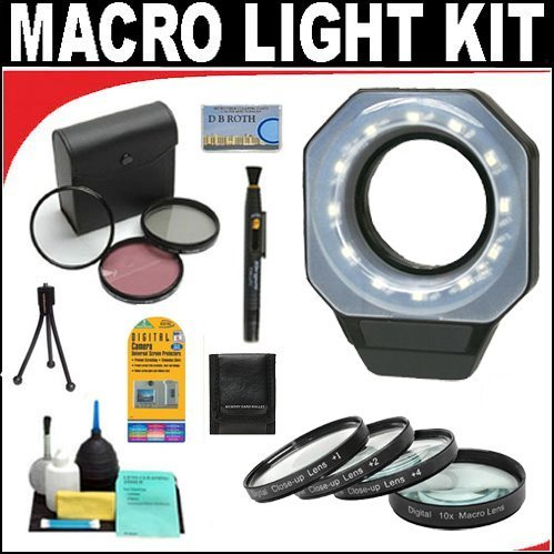 Digital Ring Light For Macro Photography + +1 +2 +4 +10 Close-Up Macro Filter Set with Pouch + High Resolution 3-piece Filter Set (UV, Fluorescent, Polarizer) + 6-Piece Deluxe Cleaning Kit + Lenspen Cleaning Tool + Deluxe DB ROTH Accessory Kit For The Panasonic HDC-TM900, SD800, SD900, HS900 Camcorder
