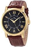 Lucien Piccard Men's 11577-YG-01 Stockhorn Black Textured Dial Brown Leather Watch