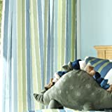 "Kids Dinosaur Striped Curtains 66"" X 72"""