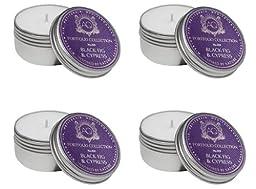 Aquiesse Travel Tin Candle Set, 4 Pack, Black Fig & Cypress