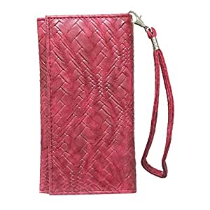 Jo Jo A5 Bali Leather Wallet Universal Pouch Cover Case For Sharp Aquos Crystal Red