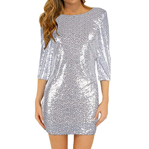 E.JAN1ST Women's Sequin Dresses 3/4 Sleeve Boat Neck Glitter Shift Bodycon Dress, Silver, Tag size: XL/US size: 8-10