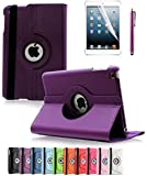 Apple iPad 2/3/4 Case, CINEYO(TM) 360 Degree Rotating Stand Case Cover with Auto Sleep / Wake Feature for iPad 2/3/4(10 Colors)this case is for Apple iPad 2 3 4 (Purple)