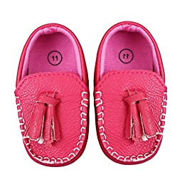 Voberry® Toddler Baby Autumn Faux Leather Loafers Soft Flat Boat Shoes (M, Hot Pink)