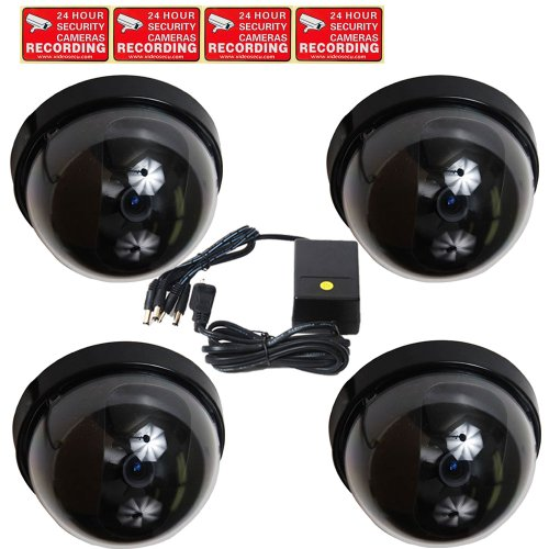 VideoSecu 4 of CCTV Dome Security Cameras Built-in SONY CCD Wide Angle Home Video Surveillance with Power Supply and Bonus Warning Stickers 1A6