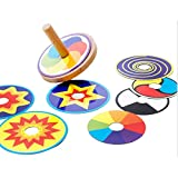BreaDeep-Funny-Traditional-Educational-Wooden-Spinning-Top-Gyro-Peg-top-with-Replaceable-Colored-Card-for-Children-Kids-Random-pattern-of-cards