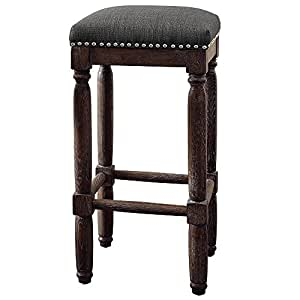 Amazon Com Renate Coffee Bar Stools Set Of 2 Gray Seat