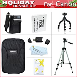 "Holiday Accessories Gift Kit For Canon PowerShot S95, SD4000 IS, SX600 HS, SX610 HS, SX710 HS Digital Camera Includes Extended Replacement NB-6L (1200 mAH) Battery + Ac/Dc Travel Charger + Case + 50"" Tripod + 7"" Flexible Tripod + Screen Protectors + More"