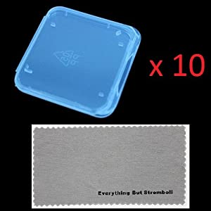 """10 pcs SD MMC / SDHC / SDXC / PRO DUO Memory Card Plastic Storage Jewel Case (memory card not included) (1 3/8"""" x 1 3/8"""" x 1/4"""") With Everything But Stromboli MicroFiber Contact Cleaning Cloth from Everything But Stromboli"""