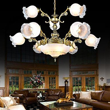 Bronze Chandeliers Twelve-Lights Glass European Retro Classic 220V