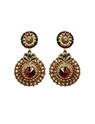 Unicorn's Ethnic Collection In Pearls And Kundan In Antique Gold Plated Dangle Earring For Women