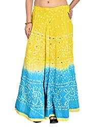 Aura Life Style Women's Cotton Bandhej Skirt (ALSK3018B, Multi , Free Size)