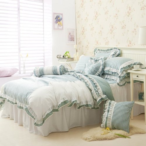 Fadfay Home Textile,New 2014,Romantic Lavender Lilac Purple Bedding Set,Korean Beautiful Lace Ruffle Bedding Sets,Twin Queen front-679283