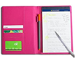 Colorful Professional PU Leather Padfolio, A5 Size Writing Portfolio Includes Writing Pad, Pen Loop, Card & ID Slots, and Extra Pocket, Pad Holder, 6.3\