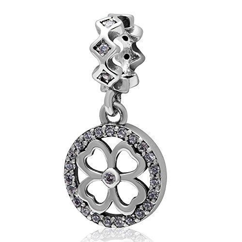 Hoobeads quadrifoglio portafortuna a forma di quadrifoglio, in argento Sterling 925, pendente a forma di perline con zirconia cubica trasparente