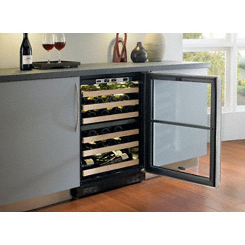 Chateau 44 Bottle Dual Zone Built-In Wine Refrigerator Finish: Stainless Steel, Hinge Location: Left