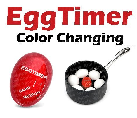 Red Apple Heat Sensitive Hard & Soft Boiled Egg Timer Color Changing Indicator Tells When Eggs Are Ready - Watch Color Change For SOFT MEDIUM Or HARD BOILED - Super-Reliable Kitchen Tool -Gift (The Egg Cook compare prices)